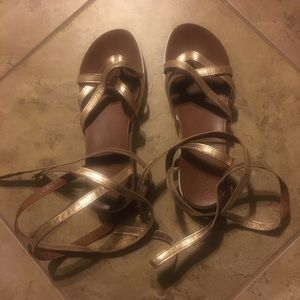 Gold lather sandals